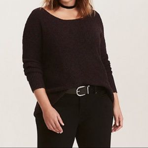 Torrid purple lace up back sweater.